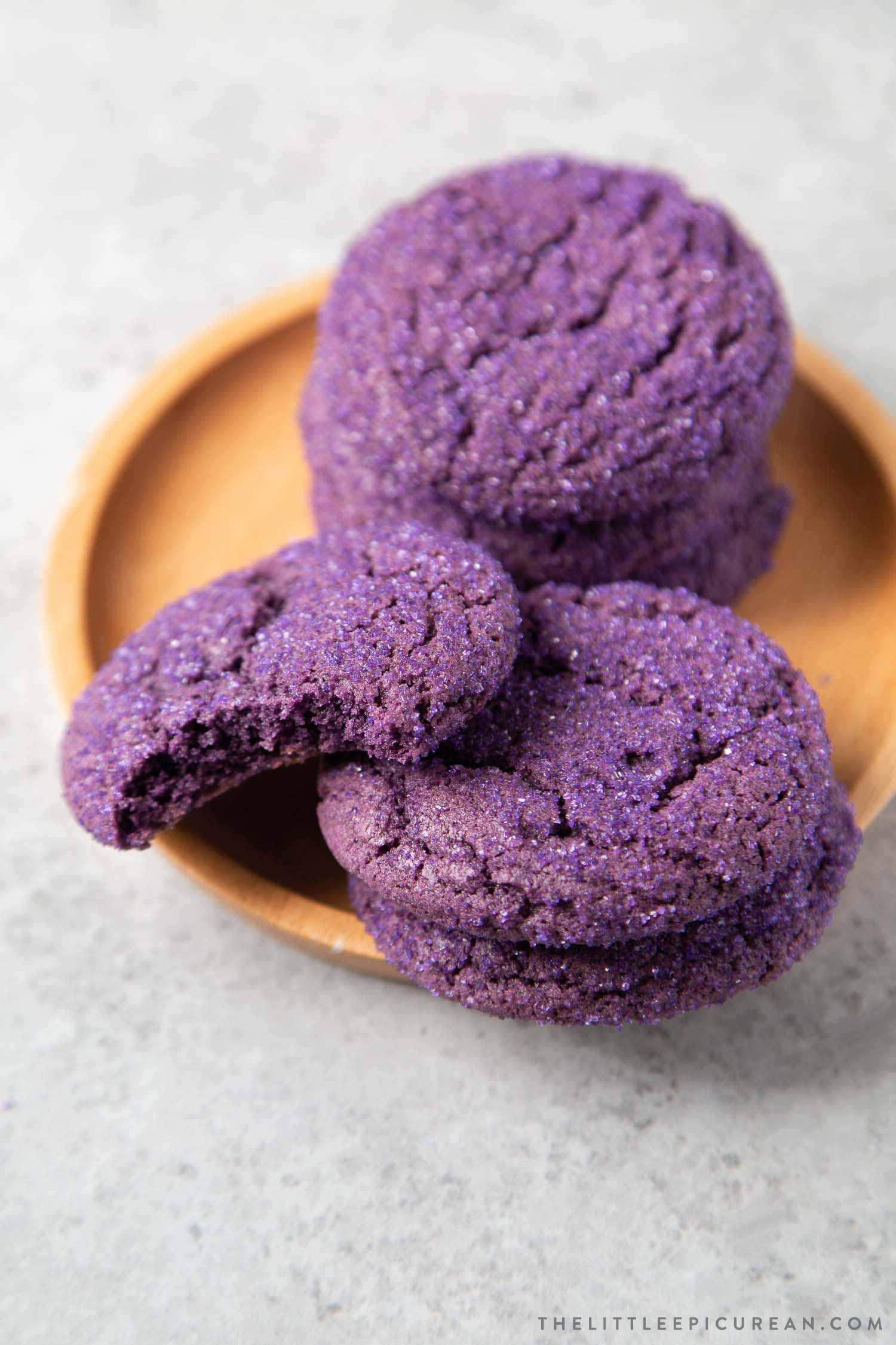 Purple Yam Ube Crinkle Sugar Cookies