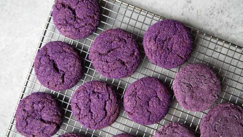 Crinkle Ube Sugar Cookies