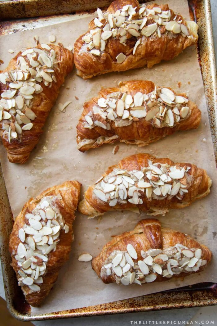 almond croissants ready for oven