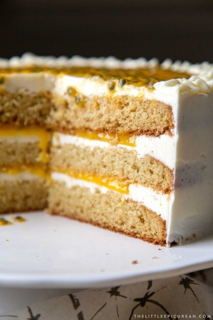 Passion Fruit Cake with curd and buttercream