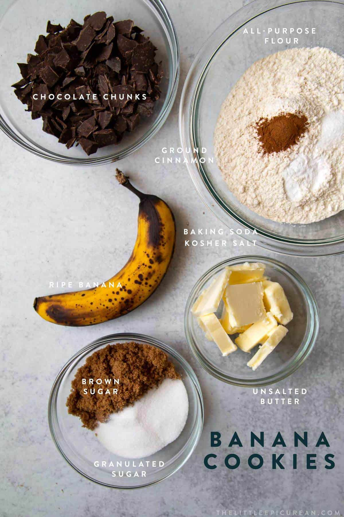 layout of ingredients for banana chocolate chip cookies.