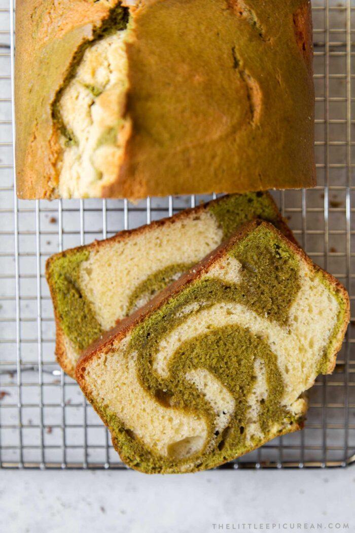 Matcha Pound Cake Loaf Slices