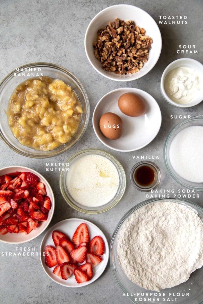 overhead of strawberry banana bread ingredients