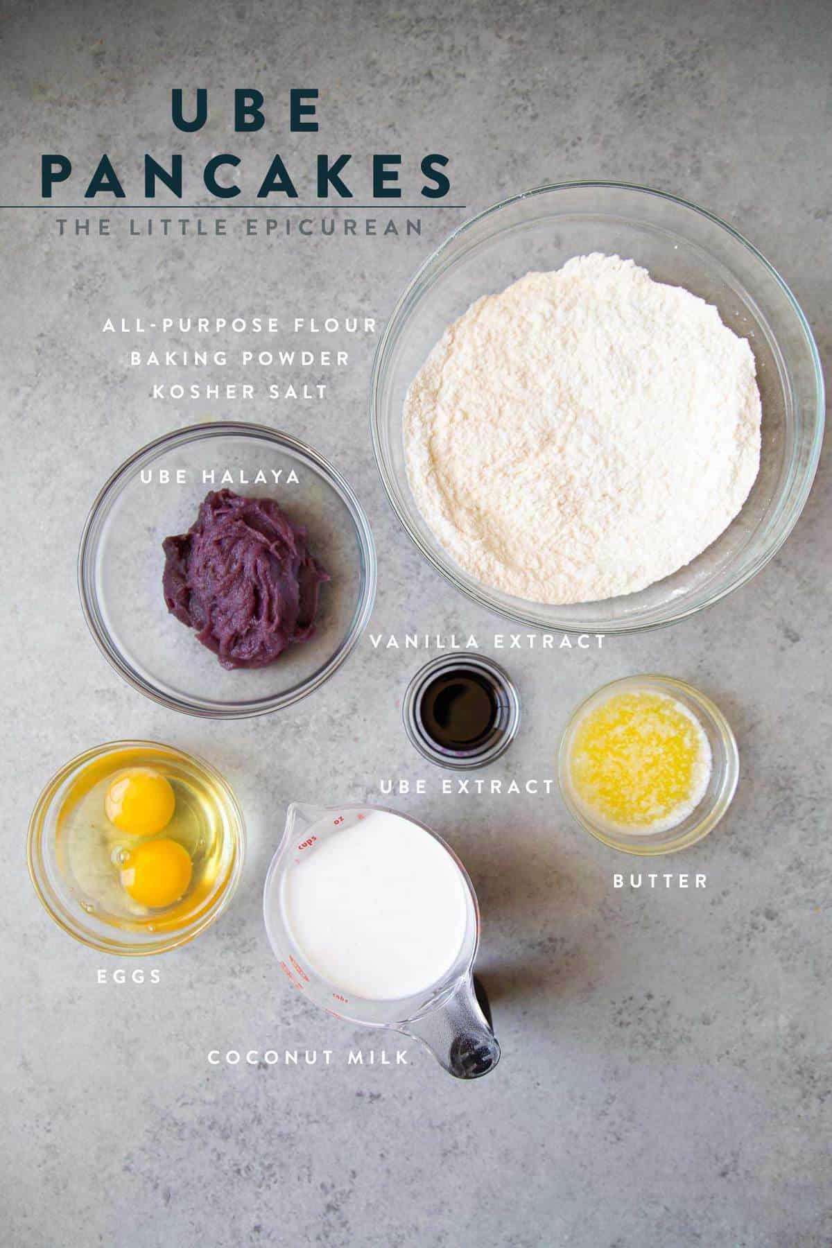 overhead shot ube pancake ingredients
