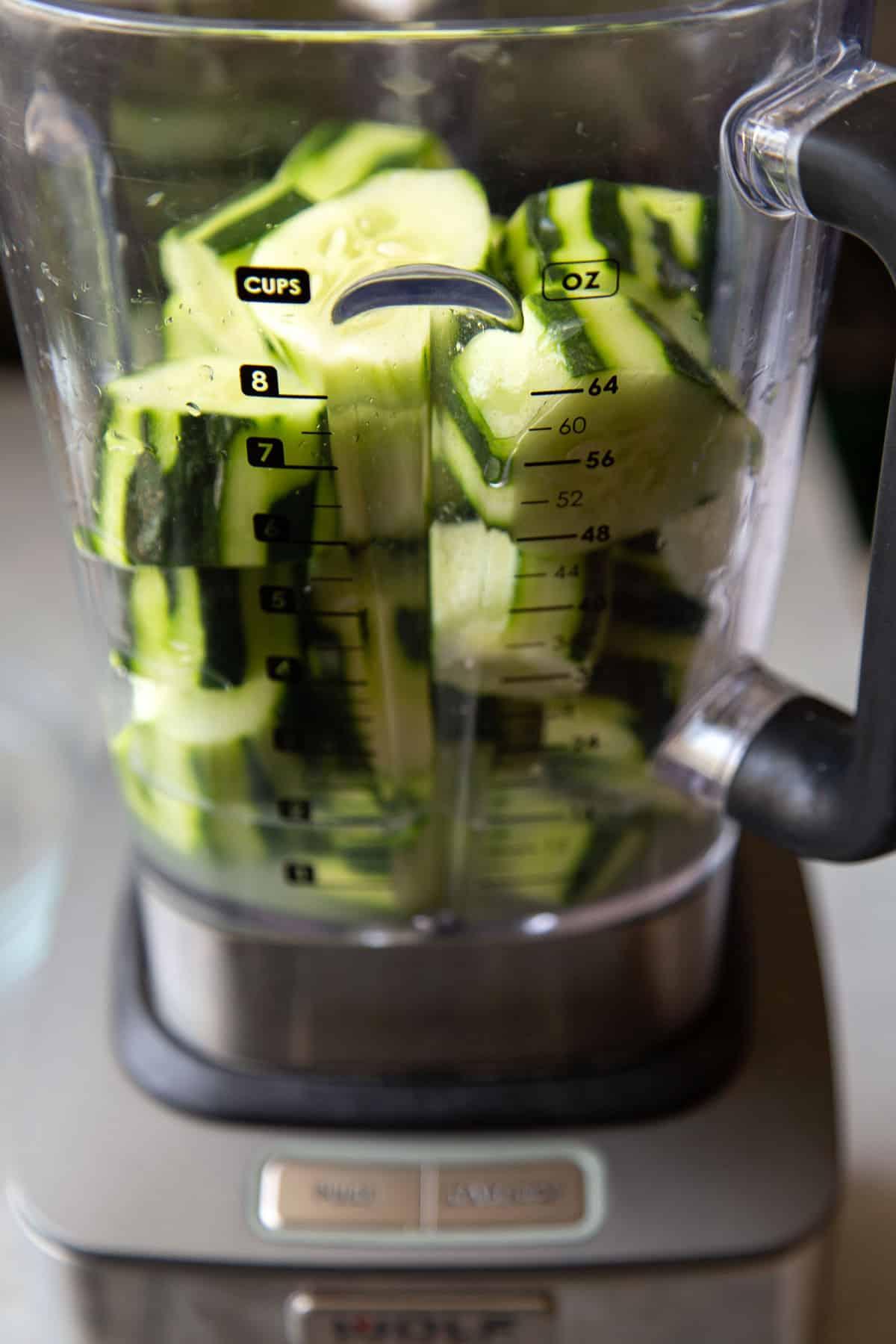 cucumber agua fresca pureed in blender