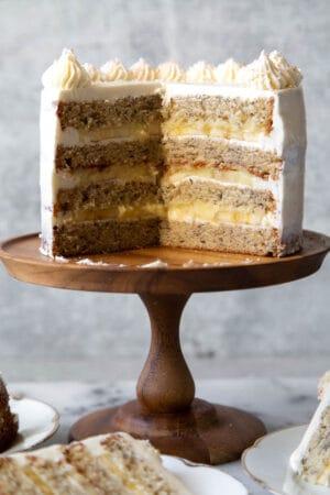 Banana cream cake with pastry cream and vanilla swiss buttercream