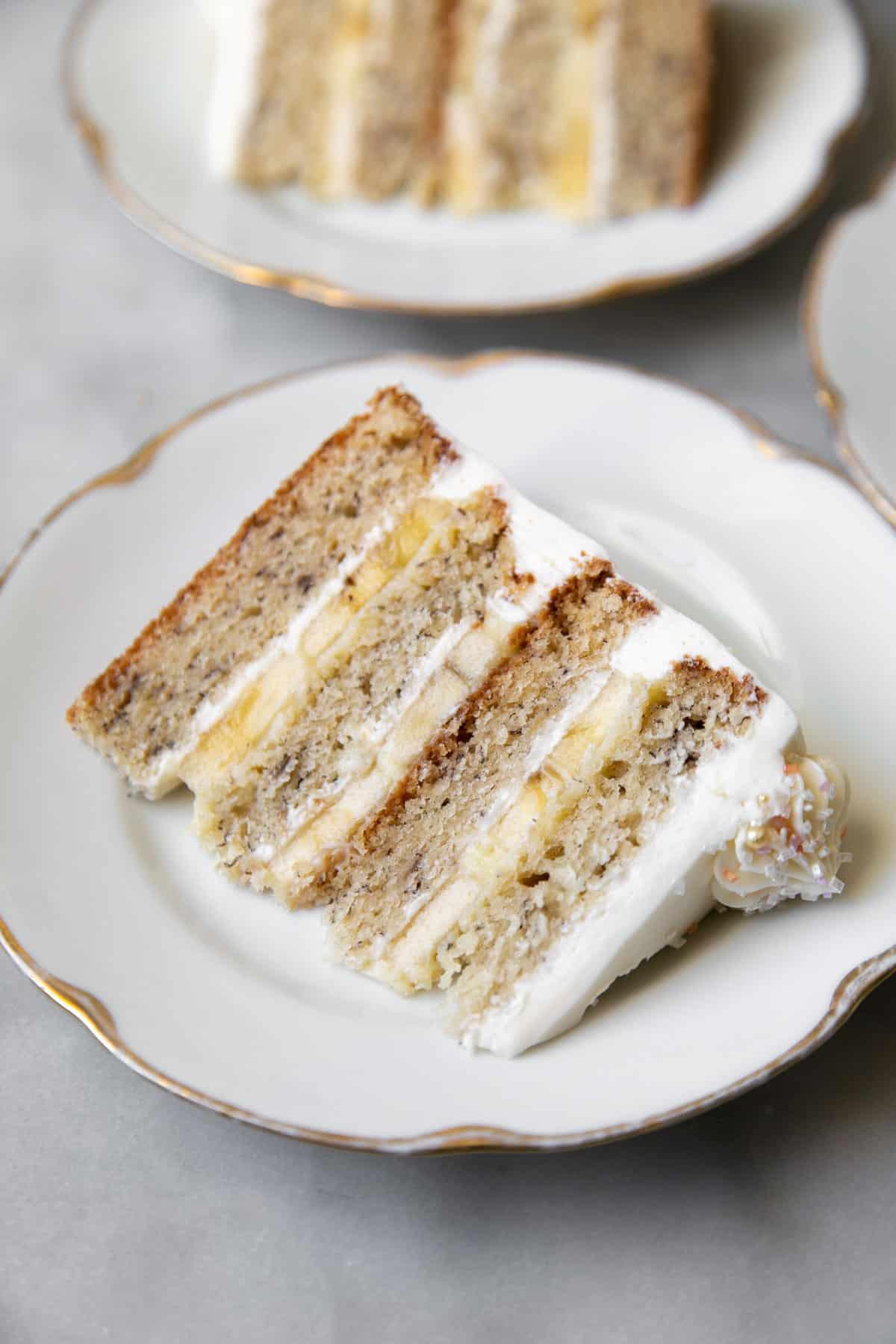 Banana cream cake slice