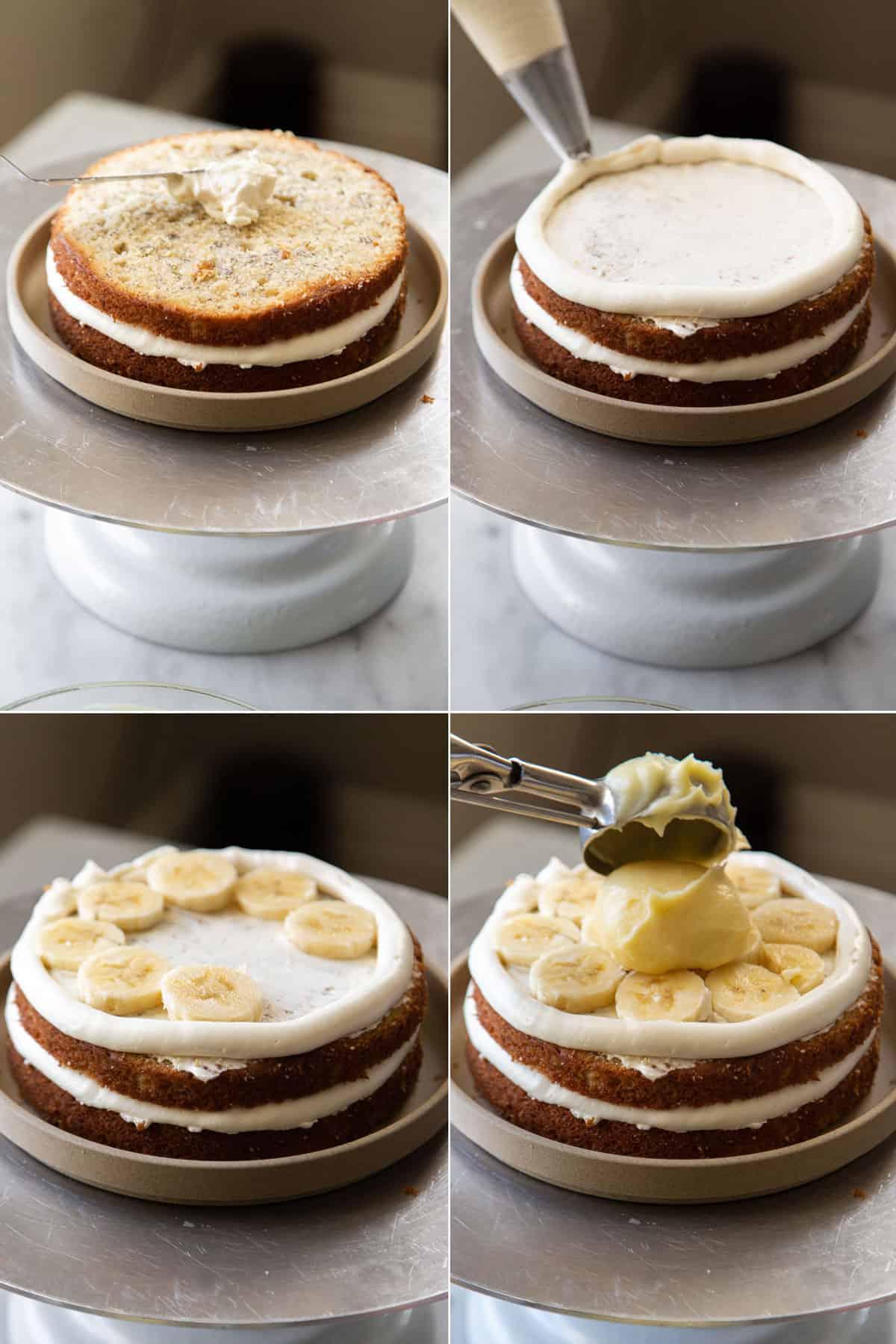 how to build banana cream cake