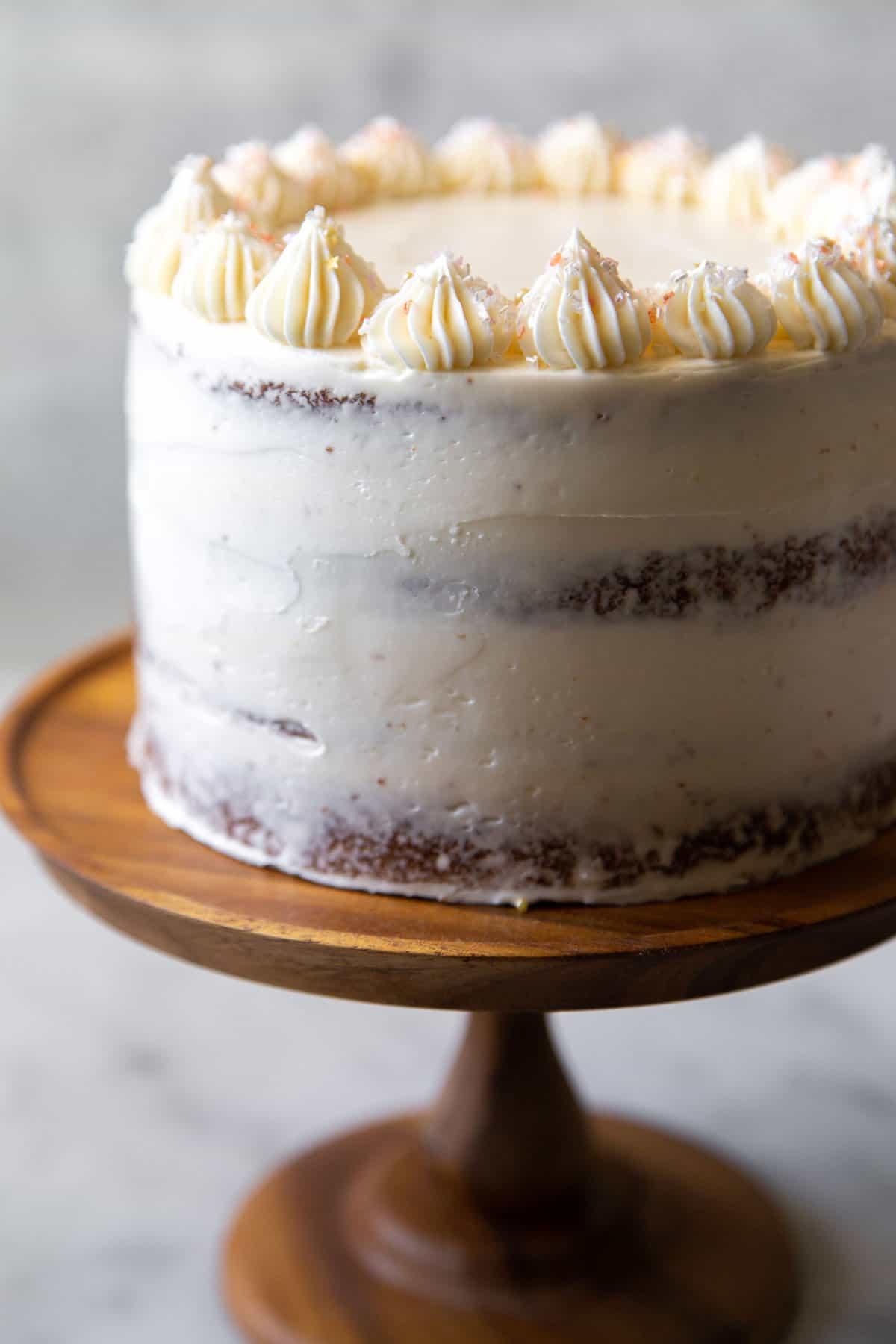 Banana cream cake with fresh bananas and vanilla pastry cream