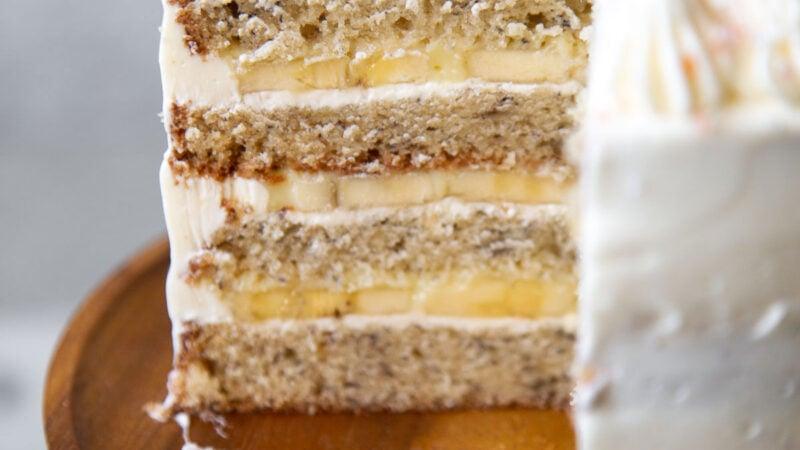 interior of banana cream cake